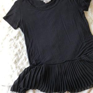 BOGO FREE Black rayon top with sheer peplum hem M